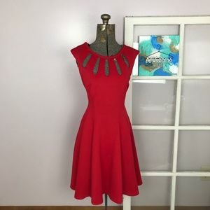Betsey Johnson Red A-Line Dress w Cage Neckline